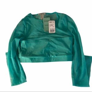 Forever 21 Teal Mesh Active Shirt